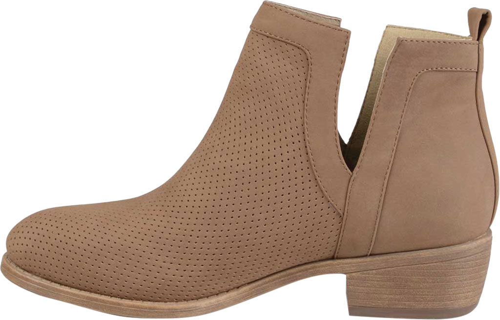 Women's Journee Collection Lainee Ankle Bootie, Taupe Faux Leather, large, image 3