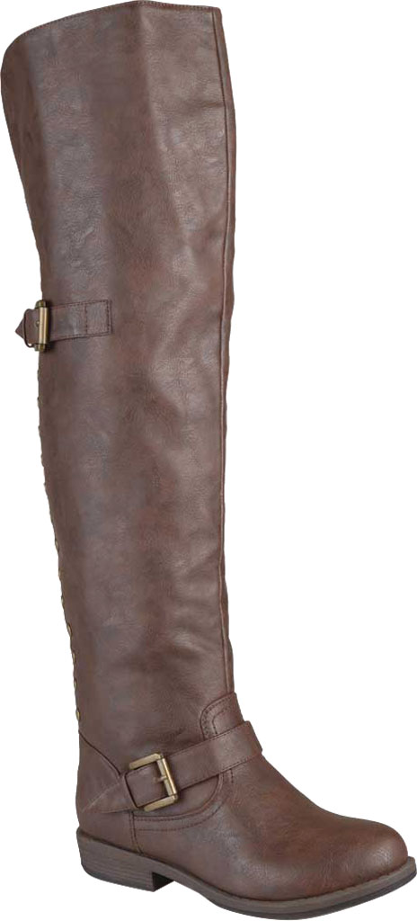 Women's Journee Collection Kane Wide Calf Over The Knee Boot, Brown Faux Leather, large, image 1