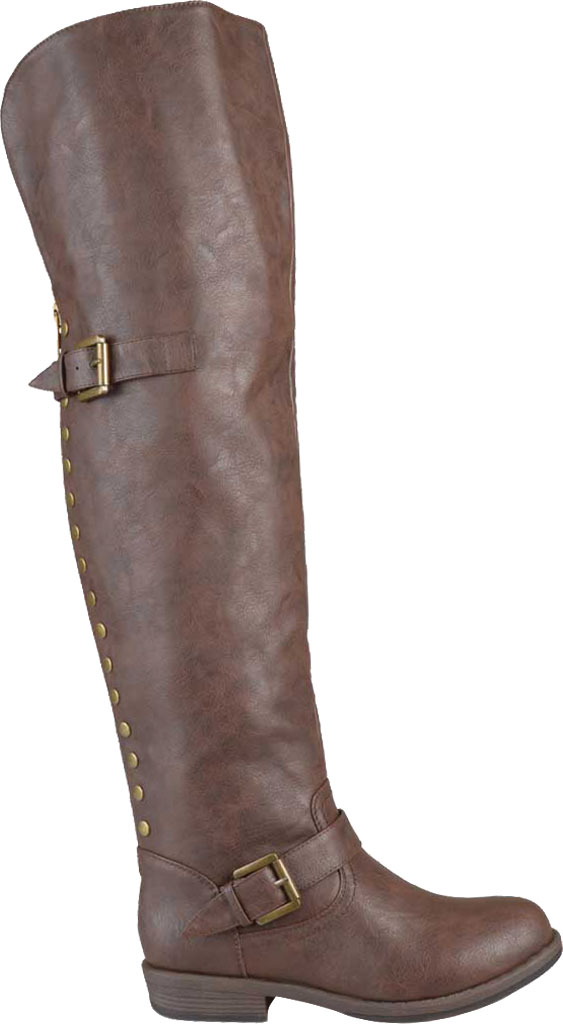 Women's Journee Collection Kane Wide Calf Over The Knee Boot, Brown Faux Leather, large, image 2