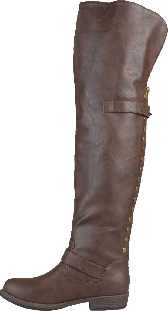Women's Journee Collection Kane Wide Calf Over The Knee Boot, Brown Faux Leather, large, image 3