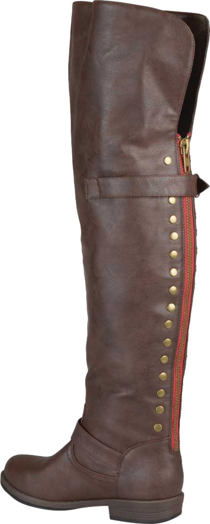 Women's Journee Collection Kane Wide Calf Over The Knee Boot, Brown Faux Leather, large, image 4