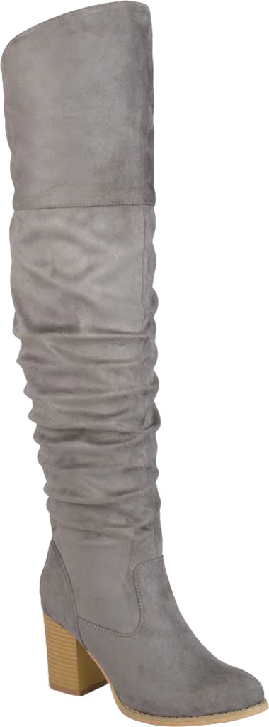 Women's Journee Collection Kaison Wide Calf Over The Knee Slouch Boot, Grey Faux Suede, large, image 1