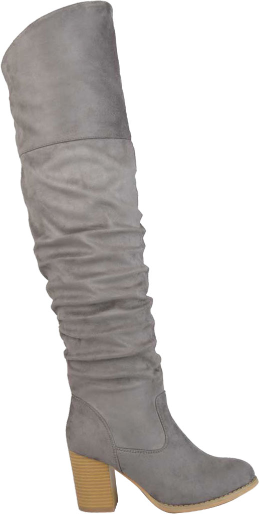 Women's Journee Collection Kaison Wide Calf Over The Knee Slouch Boot, Grey Faux Suede, large, image 2