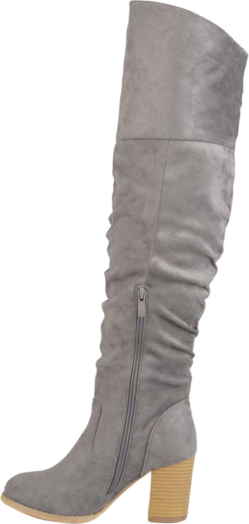 Women's Journee Collection Kaison Wide Calf Over The Knee Slouch Boot, Grey Faux Suede, large, image 3