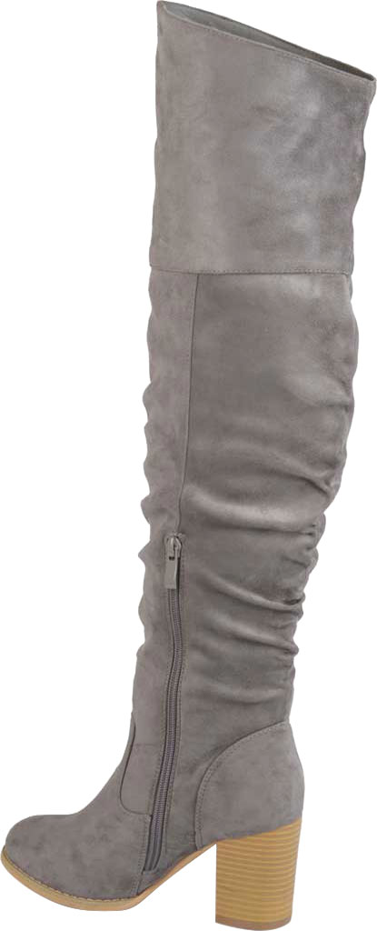 Women's Journee Collection Kaison Wide Calf Over The Knee Slouch Boot, Grey Faux Suede, large, image 4