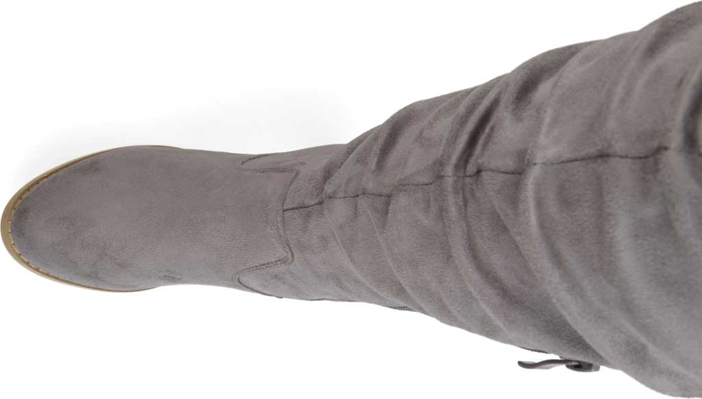 Women's Journee Collection Kaison Wide Calf Over The Knee Slouch Boot, Grey Faux Suede, large, image 5