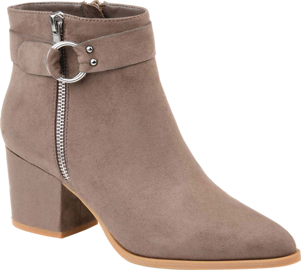 Women's Journee Collection Lavra Ankle Bootie, Taupe Microsuede, large, image 1