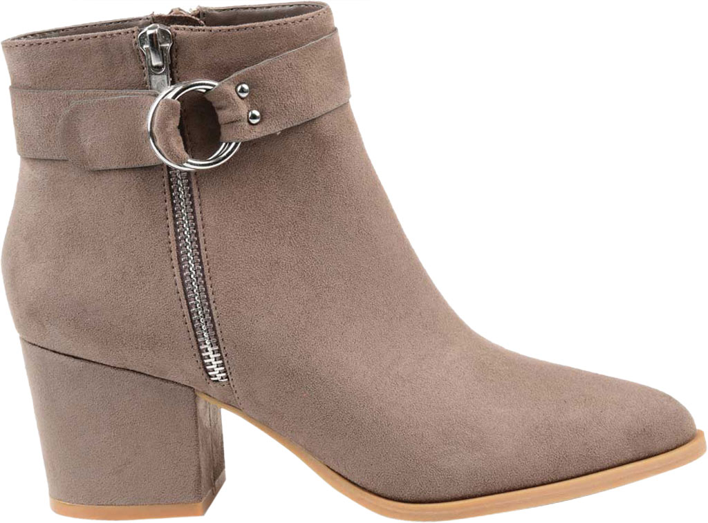 Women's Journee Collection Lavra Ankle Bootie, Taupe Microsuede, large, image 2