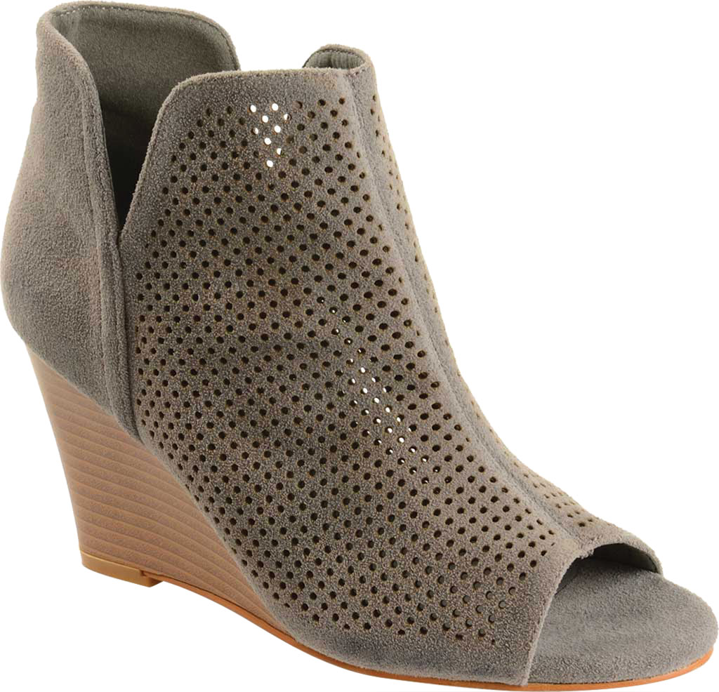 Women's Journee Collection Andies Open Toe Wedge Heel Bootie, Grey Perforated Faux Suede, large, image 1