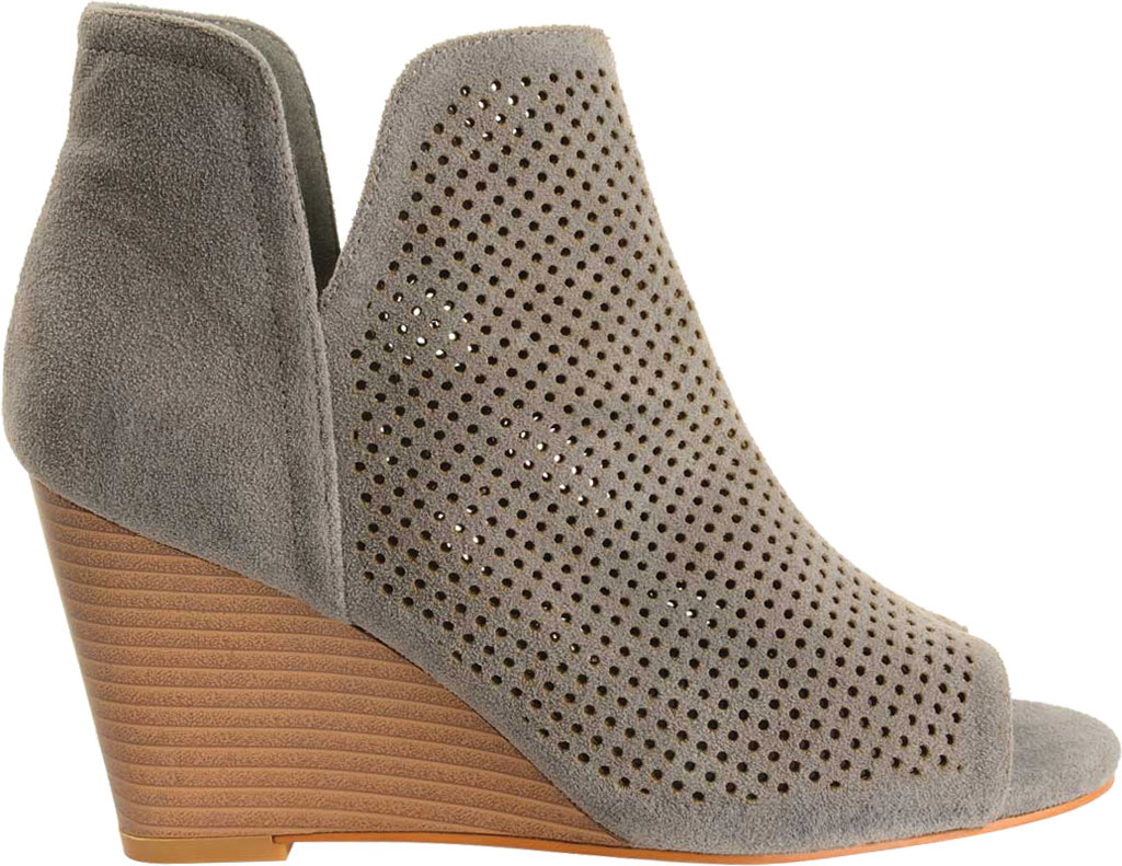 Women's Journee Collection Andies Open Toe Wedge Heel Bootie, Grey Perforated Faux Suede, large, image 2