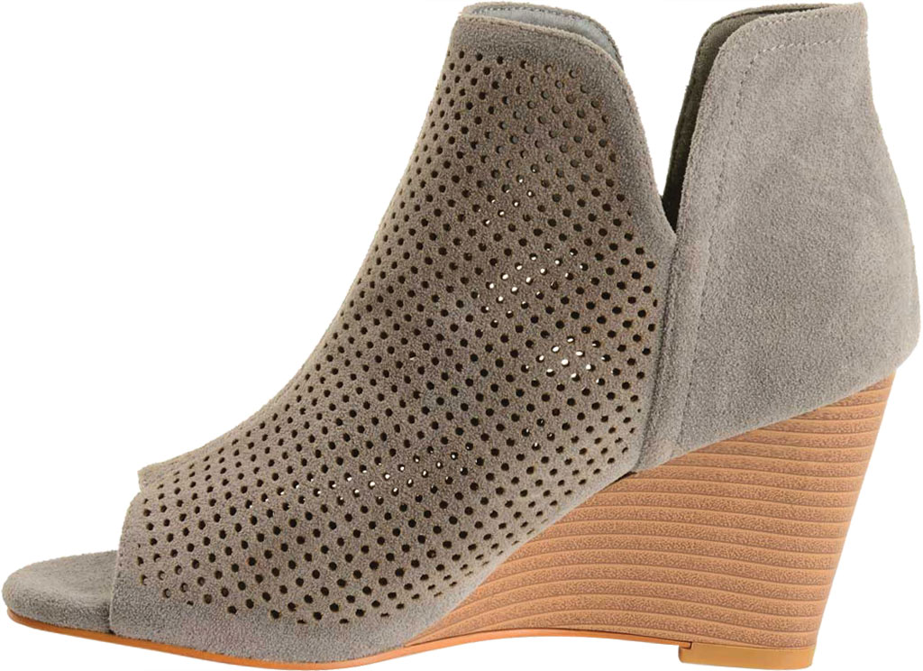 Women's Journee Collection Andies Open Toe Wedge Heel Bootie, Grey Perforated Faux Suede, large, image 3
