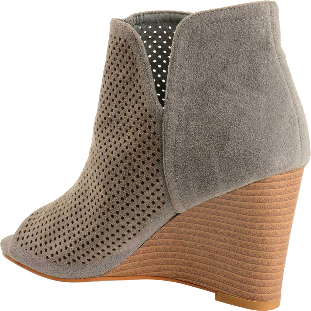 Women's Journee Collection Andies Open Toe Wedge Heel Bootie, Grey Perforated Faux Suede, large, image 4