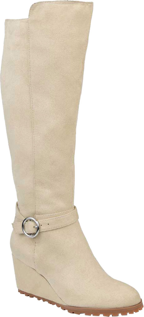 Women's Journee Collection Veronica Extra Wide Calf Wedge Knee High Boot, Beige Microsuede, large, image 1