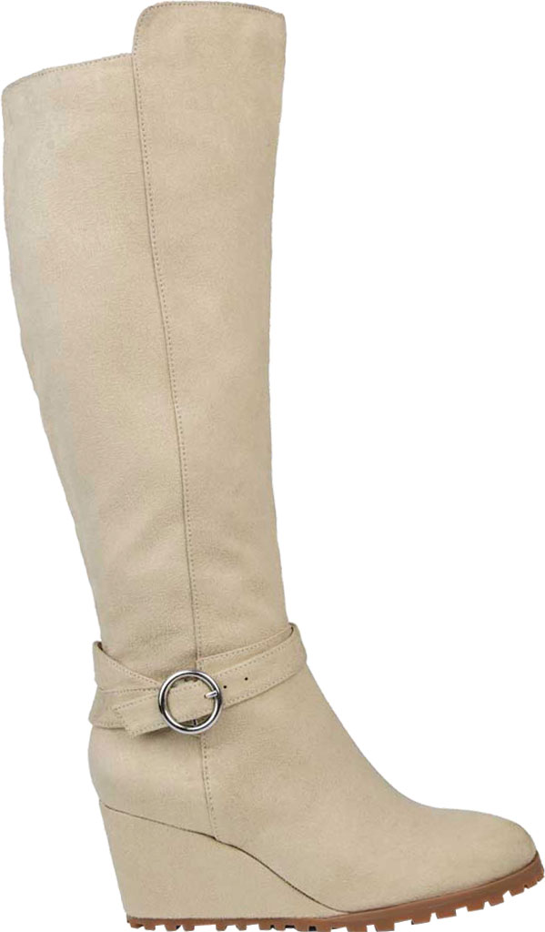 Women's Journee Collection Veronica Extra Wide Calf Wedge Knee High Boot, Beige Microsuede, large, image 2