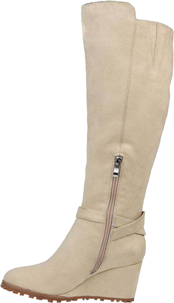 Women's Journee Collection Veronica Extra Wide Calf Wedge Knee High Boot, Beige Microsuede, large, image 3