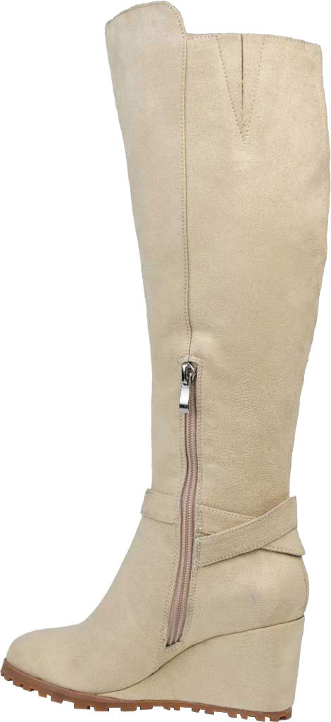 Women's Journee Collection Veronica Extra Wide Calf Wedge Knee High Boot, Beige Microsuede, large, image 4