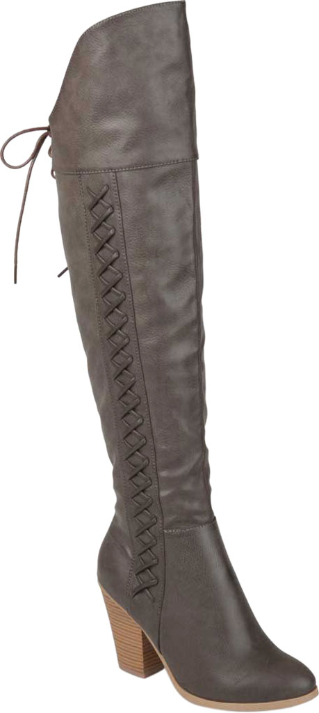 Women's Journee Collection Spritz-P Wide Calf Over The Knee Boot, Grey Faux Leather, large, image 1