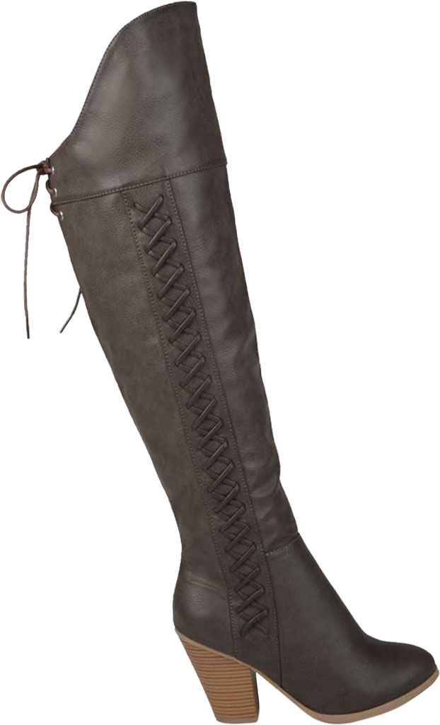 Women's Journee Collection Spritz-P Wide Calf Over The Knee Boot, Grey Faux Leather, large, image 2