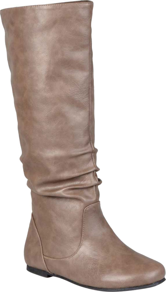 Women's Journee Collection Jayne Extra Wide Calf Knee High Slouch Boot, Taupe Faux Leather, large, image 1