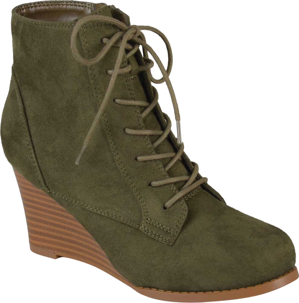 Women's Journee Collection Magely Wedge Heel Bootie, Olive Faux Suede, large, image 1