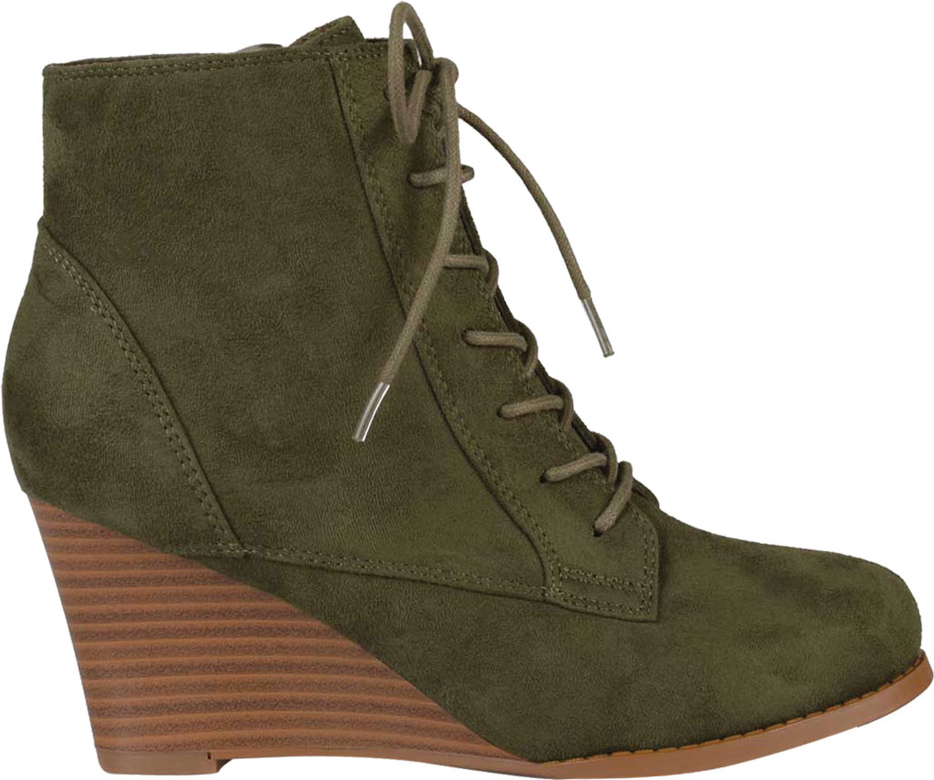 Women's Journee Collection Magely Wedge Heel Bootie, Olive Faux Suede, large, image 2