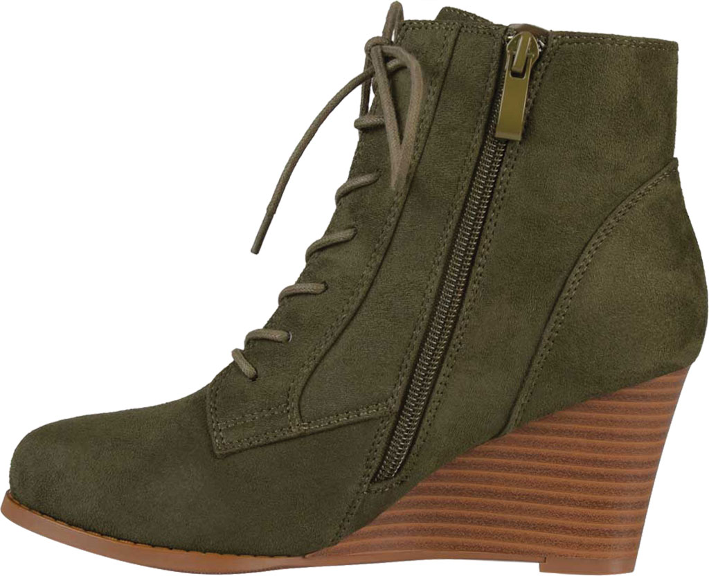 Women's Journee Collection Magely Wedge Heel Bootie, Olive Faux Suede, large, image 3