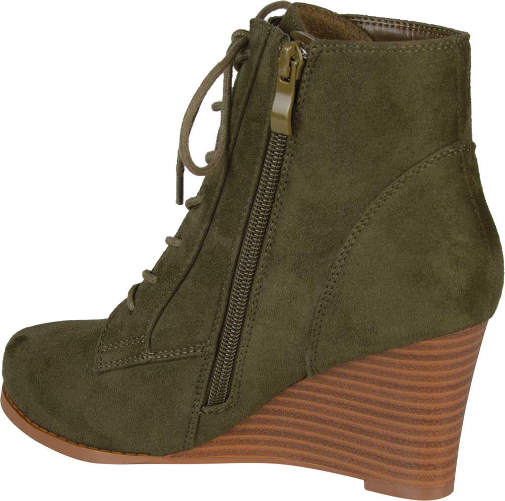 Women's Journee Collection Magely Wedge Heel Bootie, Olive Faux Suede, large, image 4