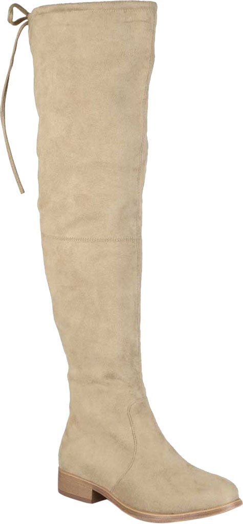 Women's Journee Collection Mount Over The Knee Boot, Taupe Faux Suede, large, image 1