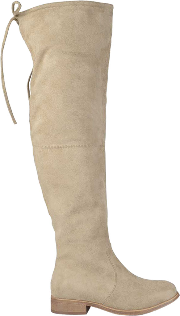 Women's Journee Collection Mount Over The Knee Boot, Taupe Faux Suede, large, image 2