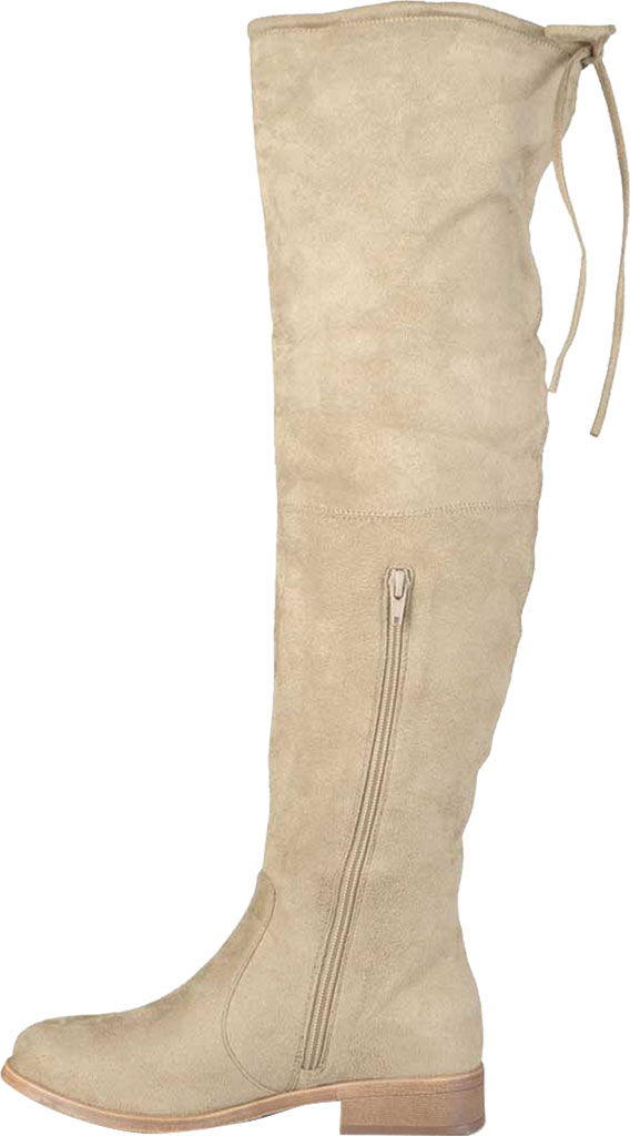 Women's Journee Collection Mount Over The Knee Boot, Taupe Faux Suede, large, image 3