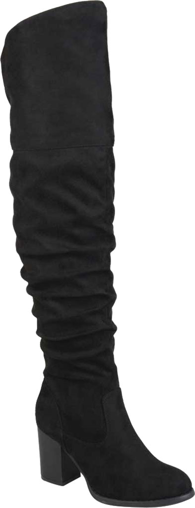 Women's Journee Collection Kaison Over The Knee Slouch Boot, Black Faux Suede, large, image 1