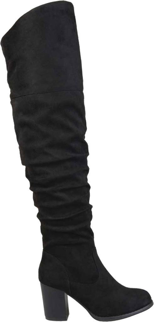 Women's Journee Collection Kaison Over The Knee Slouch Boot, Black Faux Suede, large, image 2