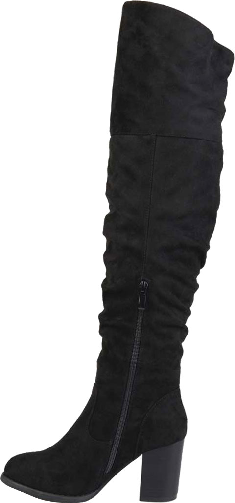 Women's Journee Collection Kaison Over The Knee Slouch Boot, Black Faux Suede, large, image 3