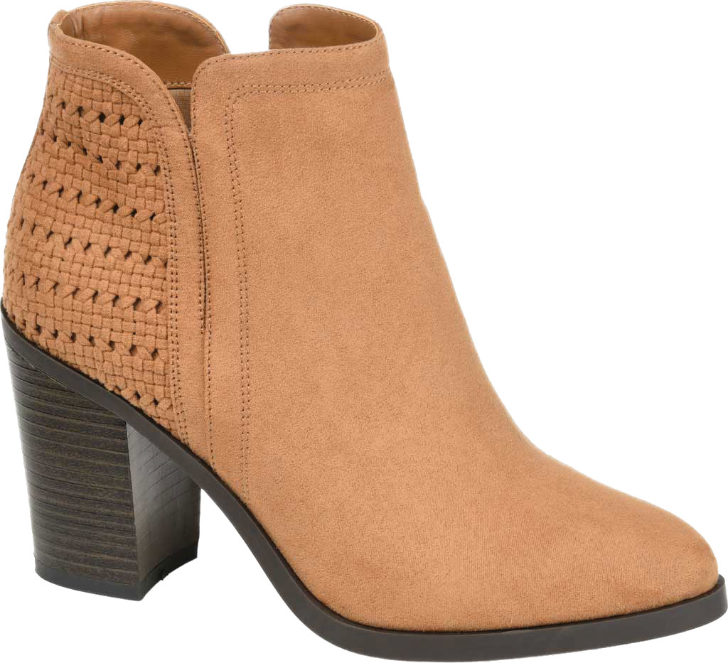 Women's Journee Collection Jessica Heeled Ankle Bootie, Tan Faux Suede, large, image 1