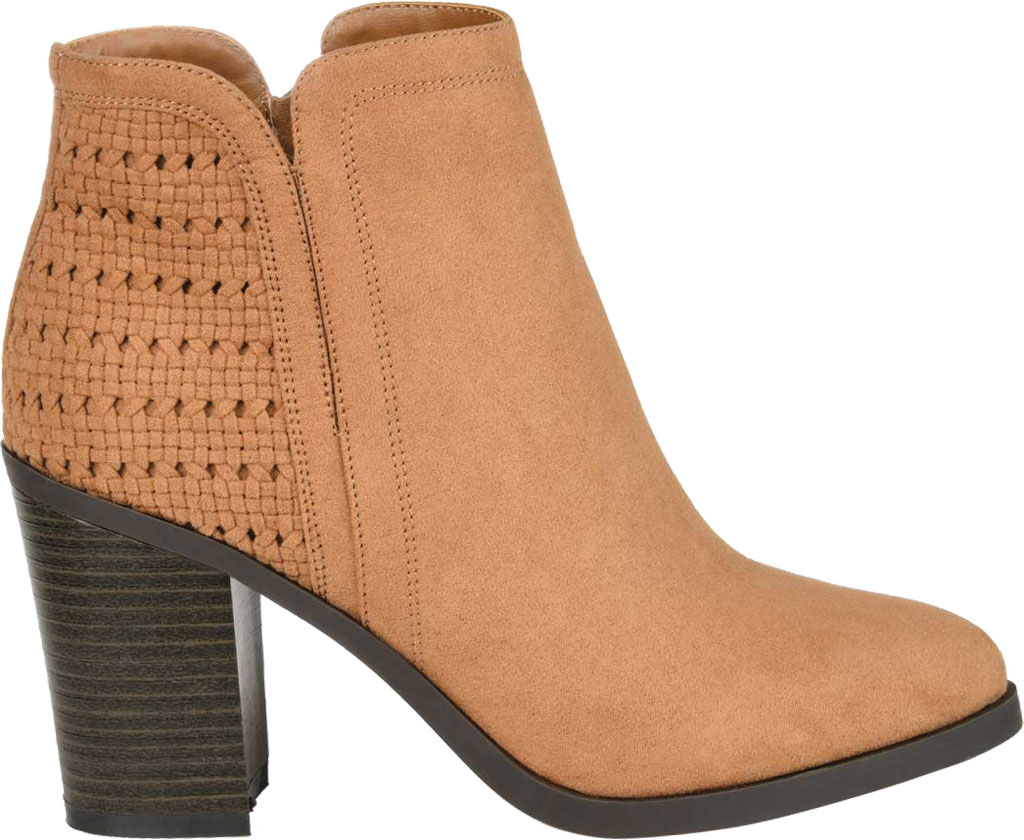 Women's Journee Collection Jessica Heeled Ankle Bootie, Tan Faux Suede, large, image 2