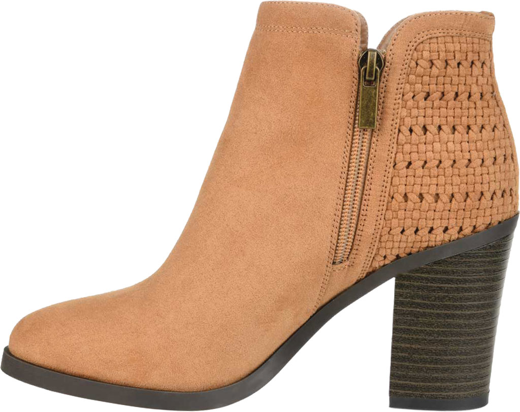 Women's Journee Collection Jessica Heeled Ankle Bootie, Tan Faux Suede, large, image 3