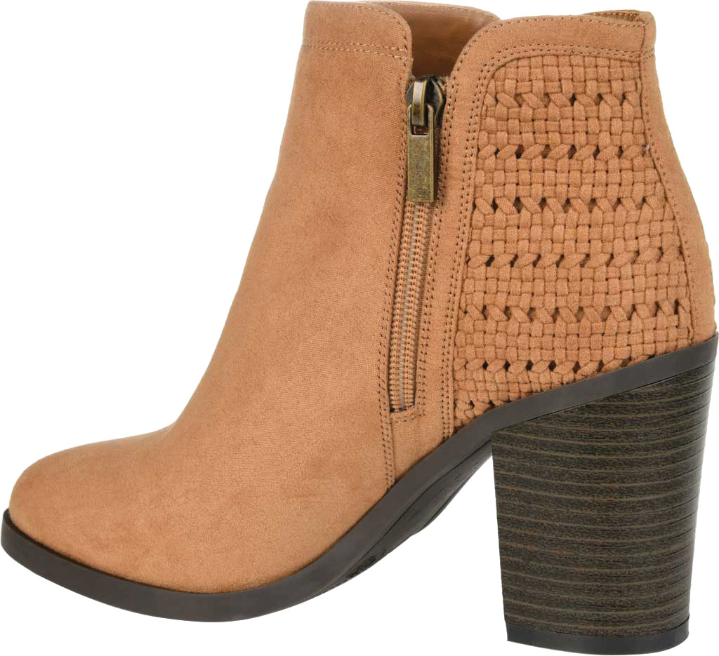 Women's Journee Collection Jessica Heeled Ankle Bootie, Tan Faux Suede, large, image 4