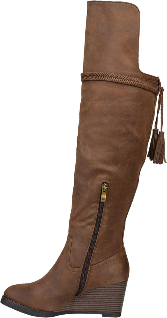Women's Journee Collection Jezebel Wedge Over The Knee Boot, Brown Faux Suede, large, image 3