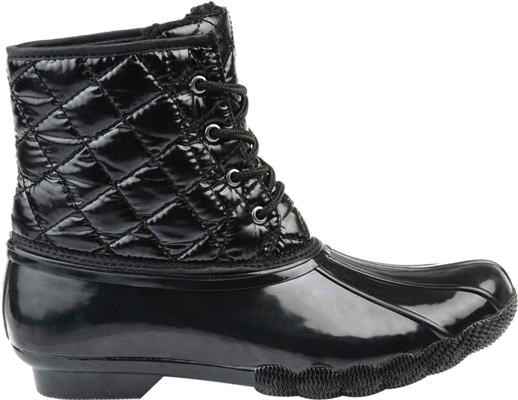 Women's Journee Collection Chill Quilted Waterproof Duck Boot, Black Quilted Manmade, large, image 2