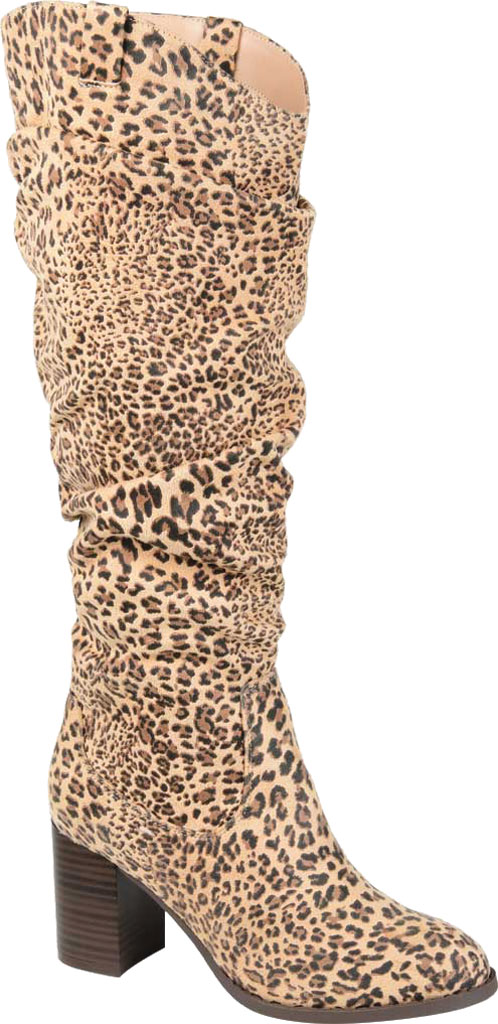 Women's Journee Collection Aneil Knee High Slouch Boot, Leopard Faux Suede, large, image 1