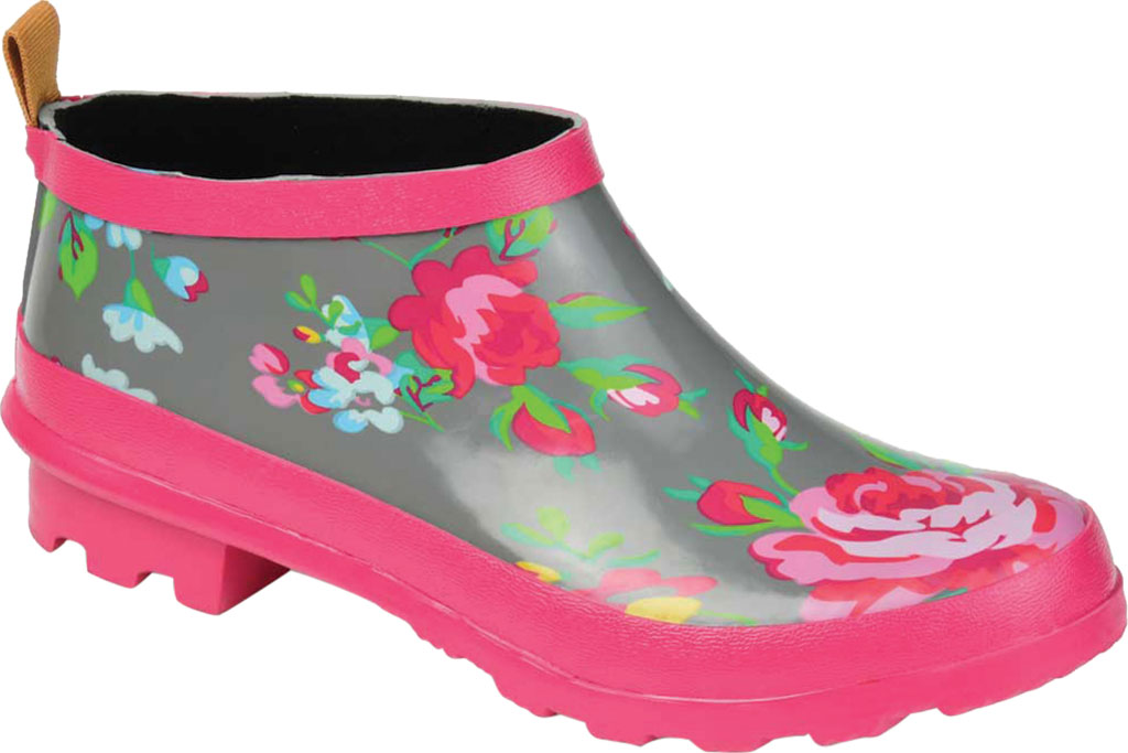 Women's Journee Collection Rainer Rain Boot, Grey Floral Rubber, large, image 1