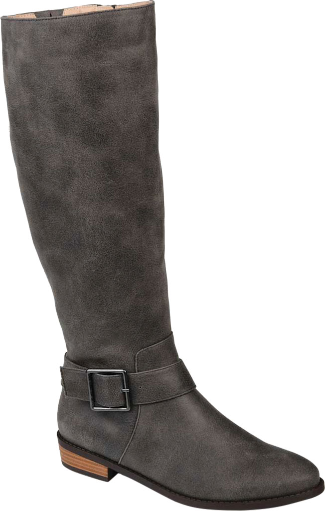 Women's Journee Collection Winona Wide Calf Knee High Boot, Grey Distressed Faux Suede, large, image 1