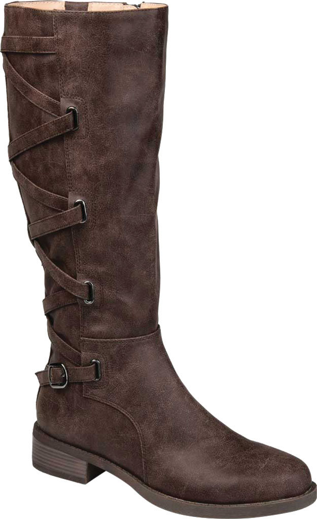 Women's Journee Collection Carly Wide Calf Knee High Boot, Brown Faux Leather, large, image 1