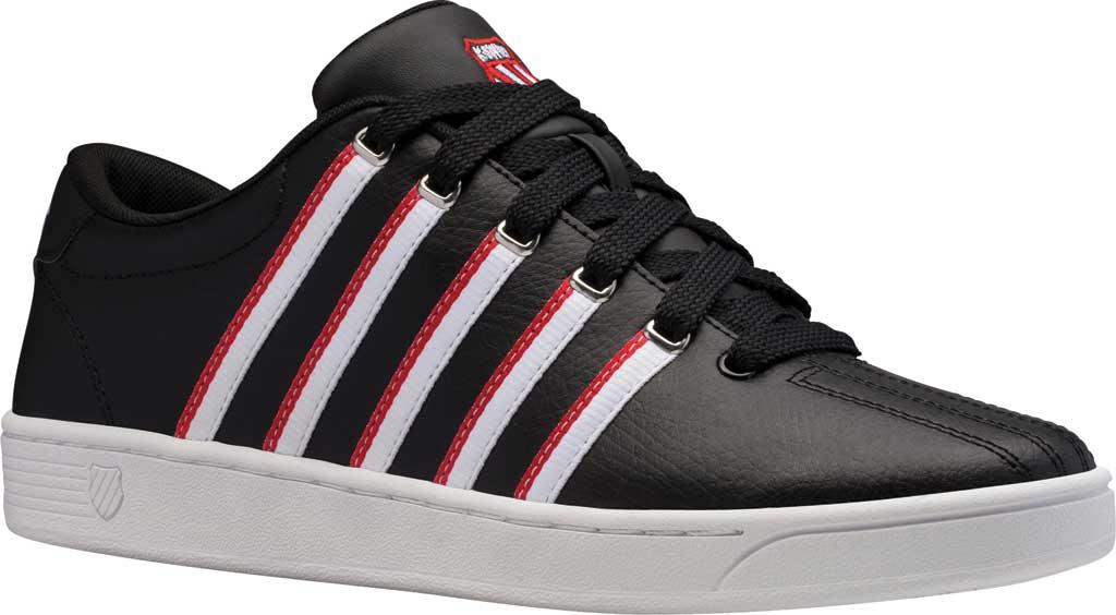Men's K-Swiss Court Pro II Tennis Sneaker, Black/White/Red/Tape Leather, large, image 1