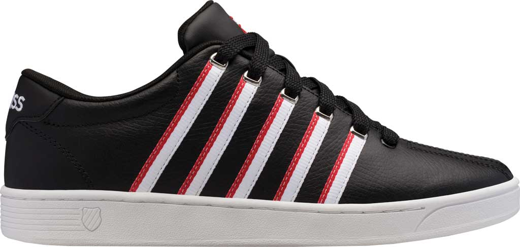 Men's K-Swiss Court Pro II Tennis Sneaker, Black/White/Red/Tape Leather, large, image 2