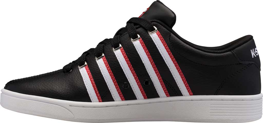 Men's K-Swiss Court Pro II Tennis Sneaker, Black/White/Red/Tape Leather, large, image 3