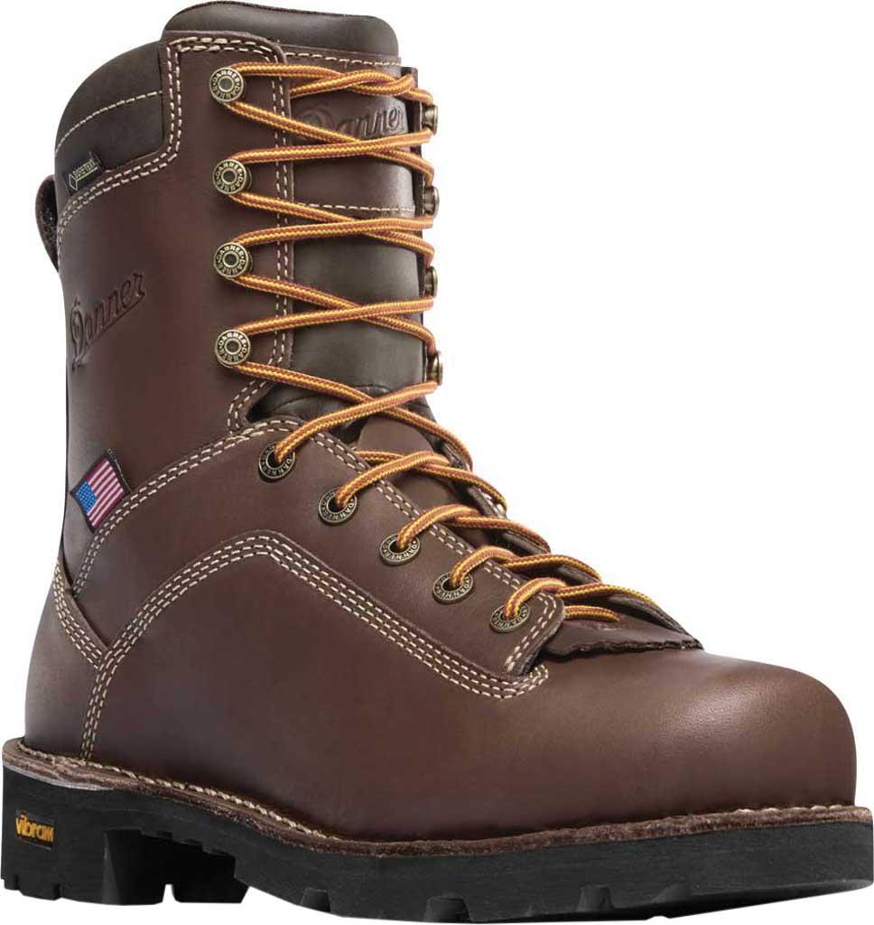 "Men's Danner Quarry USA 8"" Alloy Toe, Brown Full Grain Leather, large, image 1"