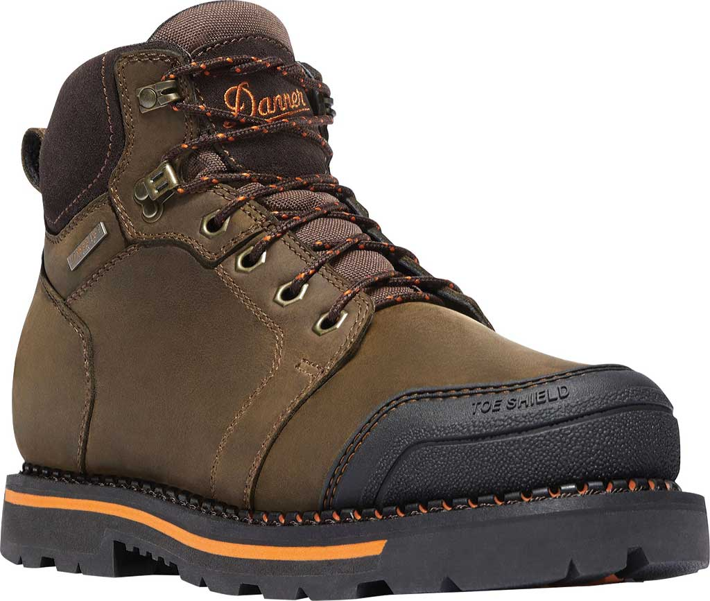 "Men's Danner Trakwelt 6"" Non-Metallic Toe Work Boot, Brown Full Grain Leather, large, image 1"
