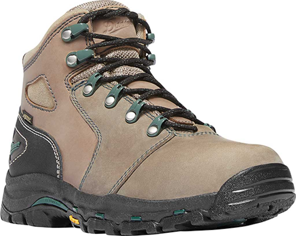 """Women's Danner Vicious 4"""" GORE-TEX Non-Metallic Toe Work Boot, Brown/Green Leather, large, image 1"""