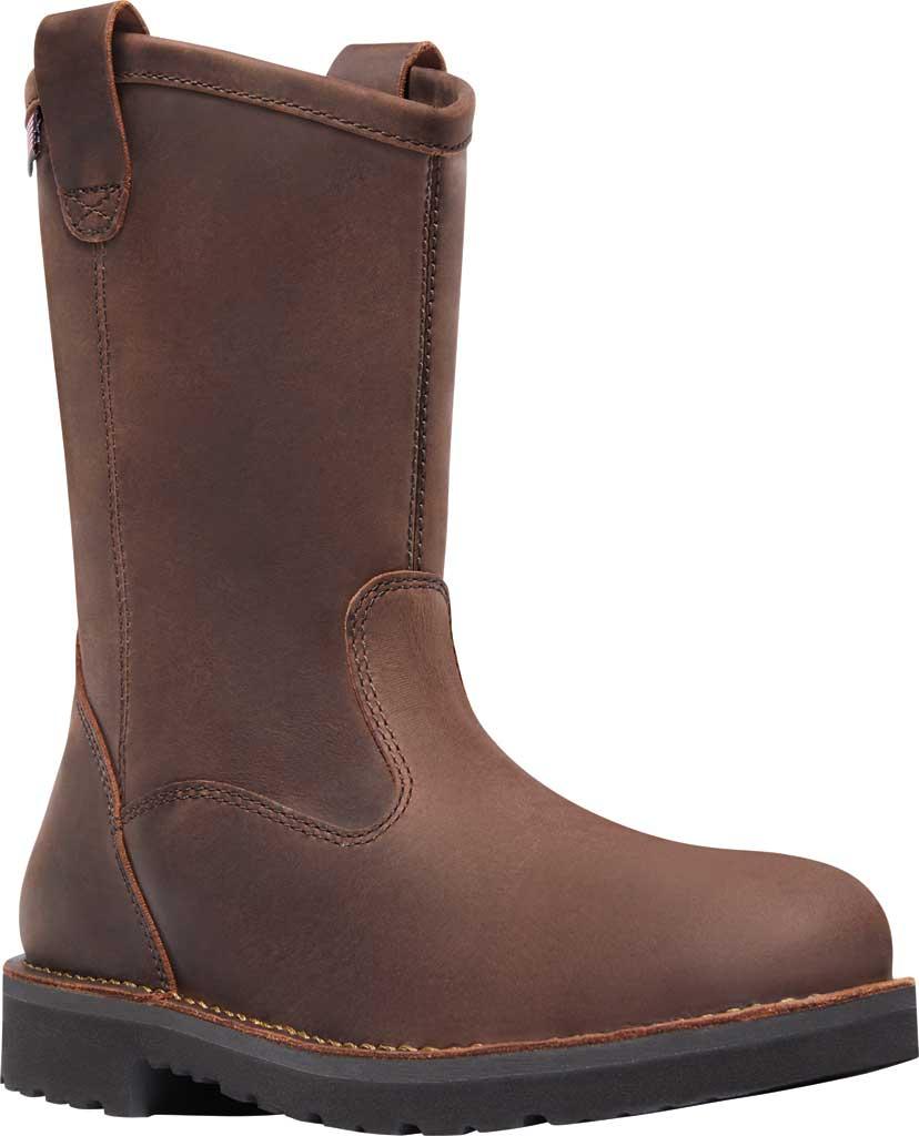 """Men's Danner Bull Run 11"""" Round Still Toe Wellington Boot, Brown Full Grain Leather, large, image 1"""